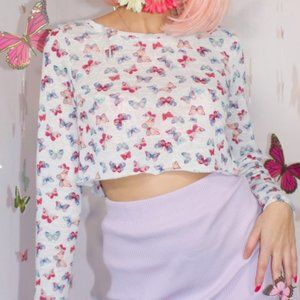 BUTTERFLY CROPPED SWEATER